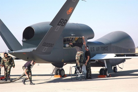 photo-A maintenance crew preparing a Global Hawk at Beale Air Force Base