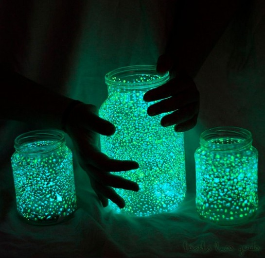 photo-Glow in the dark mason jars